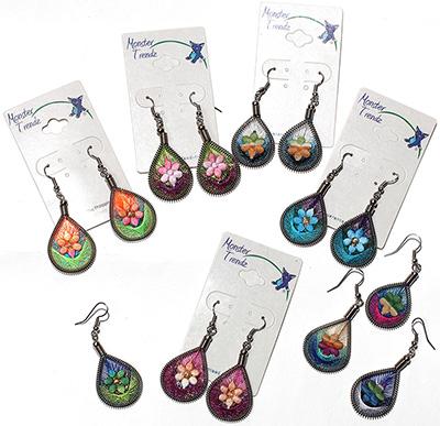 Peruvian thread wrapped tear drop design earrings with glitter daisy