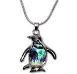 Paua shell penguin pendant necklace by Tropical Rose