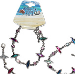 Paua shell double whale tail bracelet with CZ crystal decoration