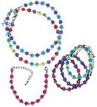 Fimo daisy and cat's eye beads in assorted colors