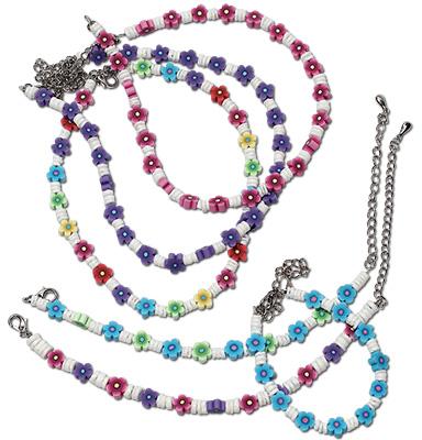 Fimo daisy and heishi beaded necklace