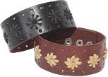 Wide leather cuff bracelet with hemp star design