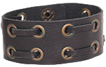 Wide leather cuff bracelet with Grommetted leather straps
