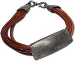 Leather bracelet with pewter plate