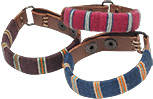 Cotton wrapped leather bracelets