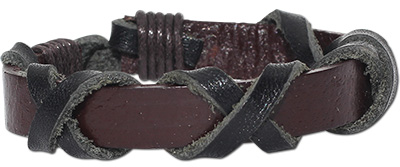 Leather bracelet with cross wrapped leather straps
