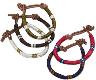 Rayon wrapped men's leather bracelet