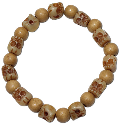 Wood and resin skull beaded stretch bracelets
