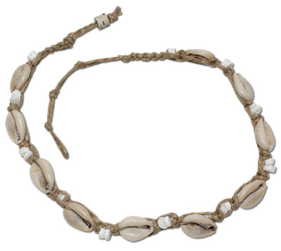 Heishi and cowrie hemp necklaces