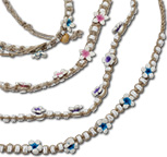 White clam heishi beads with fimo flower accents on hemp necklaces
