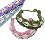 Cotton sailor bracelet with cowrie shell and bead closure