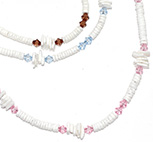 Crystal bead with heishi shell necklaces