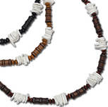 Wood bead and puka chip  necklace