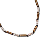 Bamboo and heishi shell necklace