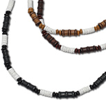 Wood bead and heishi shell necklace
