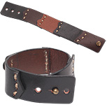 Wide leather cuff bracelet with layered patchwork
