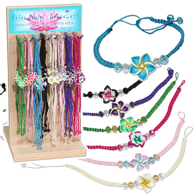 Hibiscus flowers crystal beaded friendship bracelet