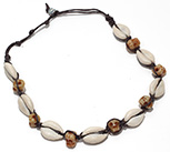 Cowrie and resin skull beaded waxed cord adjustable size necklace