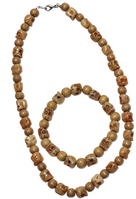 Wood and resin skull beaded stretch bracelets and necklaces
