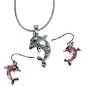 Crystal rhinestone dolphin earrings only