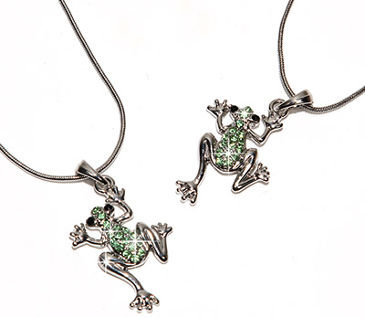 Green crystal tree frog pendant from Tropical Rose