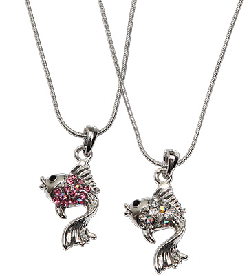 Crystal rhinestoned fish pendant 16 chain necklace