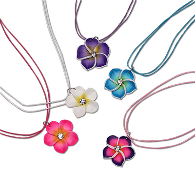 Island Flower Fimo petal and CZ crystal pendant necklace from Monster Trendz