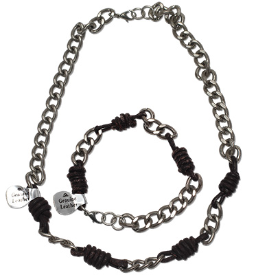Urban Bohemian distressed leather knot beads on chain