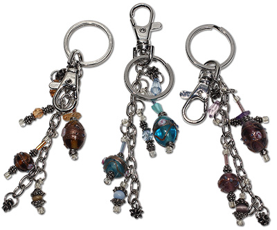 Lampwork glass beaded glamour key chain