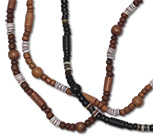 Wood bead and heishi shell necklaces