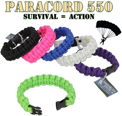 Tactical action Paracord 550 survival bracelet in solid colors