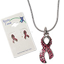 Crystal bling pink breast cancer ribbon earrings and necklace