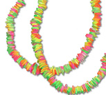Neon tie dye painted square shell chip puka necklace