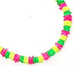Neon painted square shell chip puka necklace