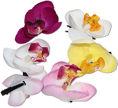 Tropical Rose  Orchid Flower Hair Clips