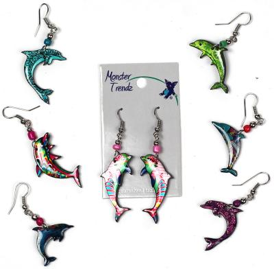 Mosaic acrylicdolphin earrings with seed bead accent