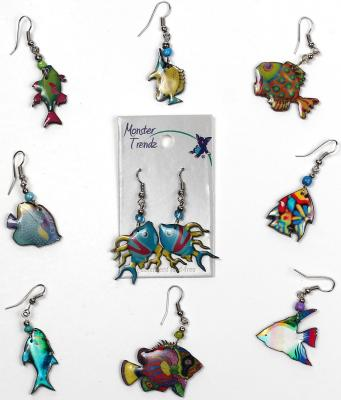 Mosaic acrylic tropical fish earrings with seed bead accent by Monster Trendz