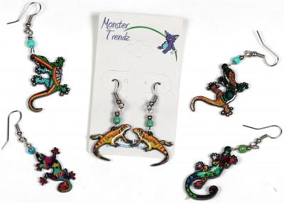 Mosaic acrylic gecko lizard earrings with seed bead accent by Tropical Rose