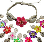 Fimo flowers and cowrie shells on adjustable hemp bracelet by Tropical Rose