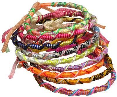 Pastel colored assortment of Peruvian tie on friendship bracelet