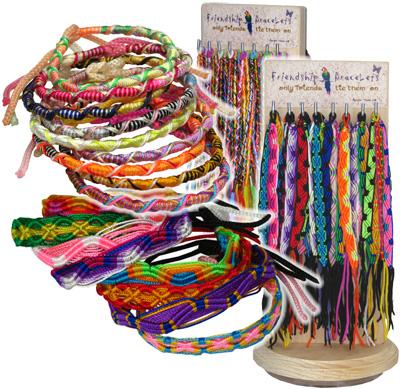 120pc round and flat Peruvian friendship bracelet display