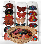 Indonesian leather hair pins and clip barrettes in assorted colors by Tropical Rose