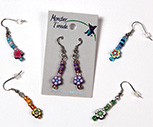 Fimo disk dangle earrings with glass and ceramic accents beads by Monster Trendz