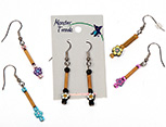 Fimo disk dangle earrings with bamboo accents beads by Monster Trendz