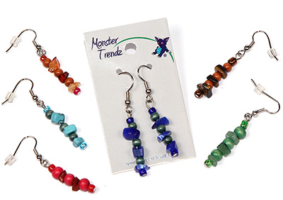 Semi precious gemstone chip dangle earrings with wood accent beads by Tropical Rose