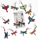 Mosaic acrylicdragonflyearrings with seed beads by Monster Trendz
