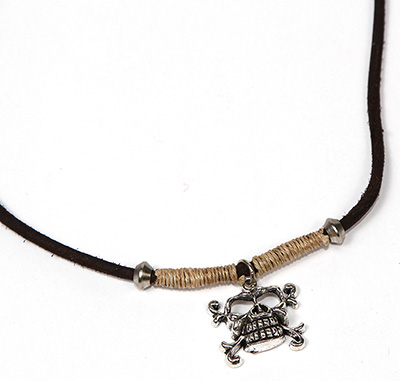Hemp wrapped distressed leather skull and crossbones pendant neck by Monster Trendz