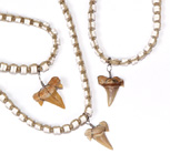 Tropical Rose Hemp and  heishi bead necklace with fossilized shark's tooth pendant