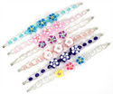 Fimo flowers on faceted crystal beaded stretch bracelet by Tropical Rose