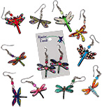 Mosaic acrylic dragonfly earrings with seed beads by Tropical Rose